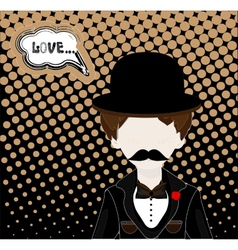 Man in hat and retro scratch background vector