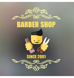 Vintage barber shop badge vector