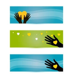 Banners templates with hands and hearts vector