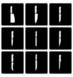 Black kitchen knife icon set vector