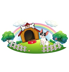 A dog with a dog house and a dog food inside the vector