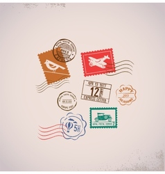 Vintage background with rubber stamps vector