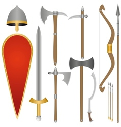 Weapon and armor of old russian soldiers vector