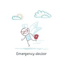 Emergency doctor is flying with wings vector