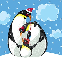 Happy family of three penguins vector