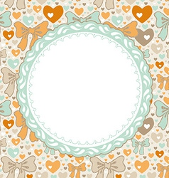 Greeting card pattern with bows and hearts vector