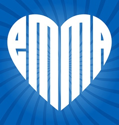 Popular female name emma in heart vector