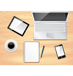 Office desk laptop background vector