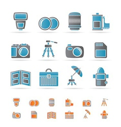 Photography equipment icons vector