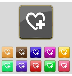 Medical heart sign icon cross symbol set colourful vector