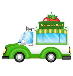 A vehicle with a natures best signboard vector