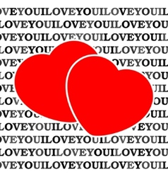 Two red hearts in front of a white background vector
