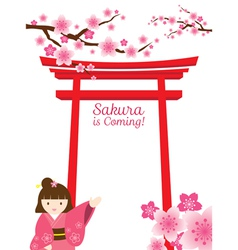 Sakura gate girl vector
