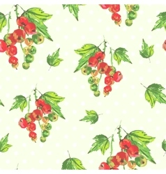 Watercolor seamless background with red currants vector
