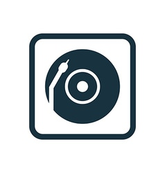 Vinyl turntable icon rounded squares button vector