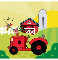 Rooster crowing on a tractor near a barn vector