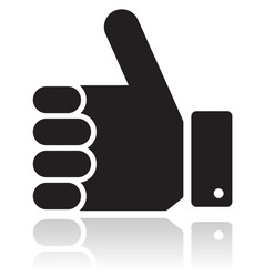 Thumb up black glossy icon vector