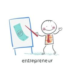 Entrepreneur tells a presentation vector