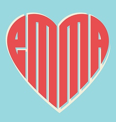 Popular female name emma and heart with vintage vector
