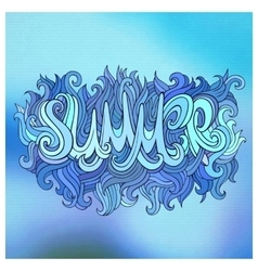 Summer hand lettering and doodles elements vector