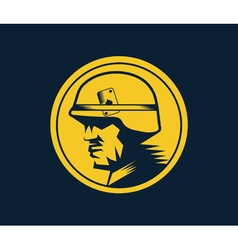 Soldier mascot label vector