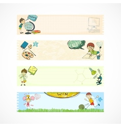 School kids education banners vector