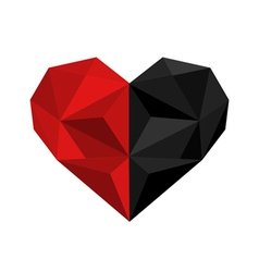 Black and red origami heart vector