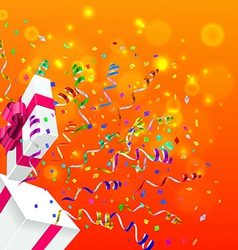 Gift with confetti background vector