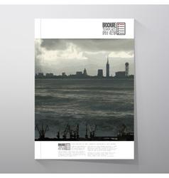 Shipyard and city landscape brochure flyer or vector
