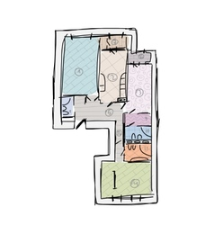 Apartment plan without furniture sketch for your vector