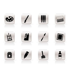 Simple painter drawing and painting icons vector