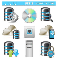 Computer icons set 4 vector