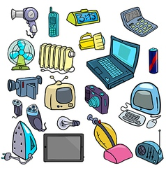 Cartoonish electric devices vector