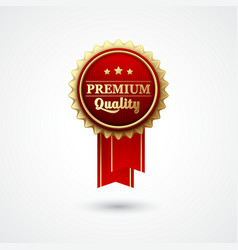 Red color award badge and ribbon vector