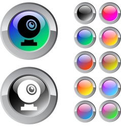 Webcam multicolor round button vector