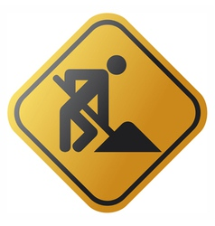Under construction road sign with man vector