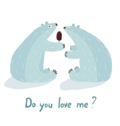 Polar bears love and ice cream vector