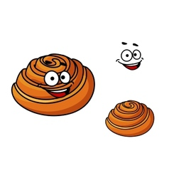 Happy delicious cartoon sticky bun vector