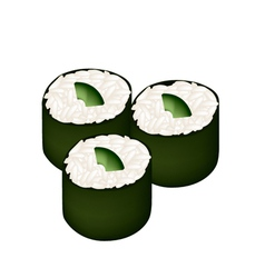 Avocado sushi roll or avocado maki vector