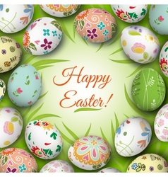 Easter eggs on the grass vector