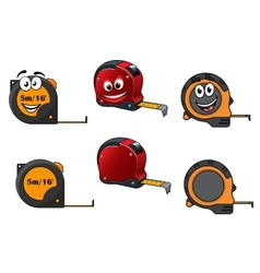 Set of retractable tape measures vector