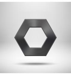 Black abstract polygon button template vector