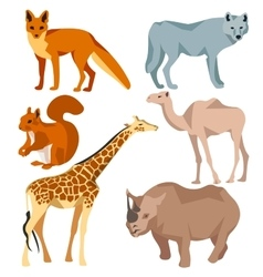 Set isolated different animals fox wolf giraffe vector