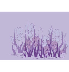 Lilac background with iris vector