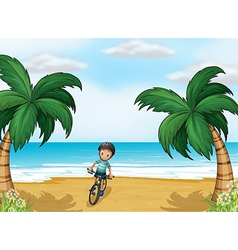 A boy biking at the beach vector