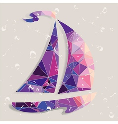 Retro ship background made of triangles vector