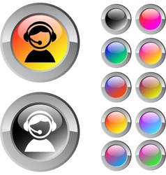 Operator multicolor round button vector