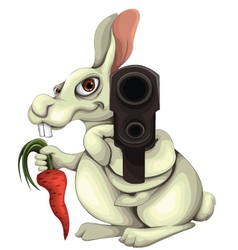 Rabbit with a gun vector