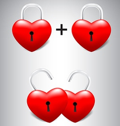 Heart lock collection set vector
