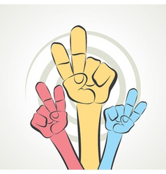 Hand show victory sign vector